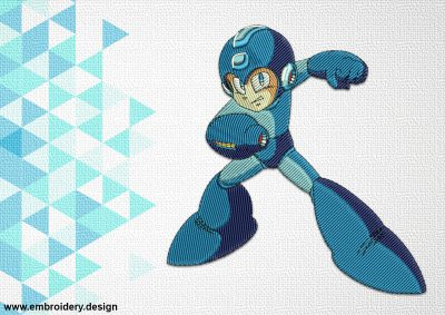 The embroidery design Mega Man is digital and simple embroidered