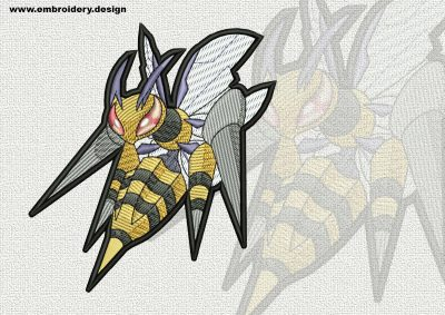 The qualitatively digitized embroidery design Megabeedrill Pokemon