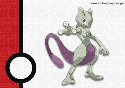 The embroidery design Mewtwo pokemon