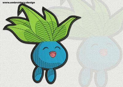 The qualitatively digitized embroidery design Oddish Pokemon