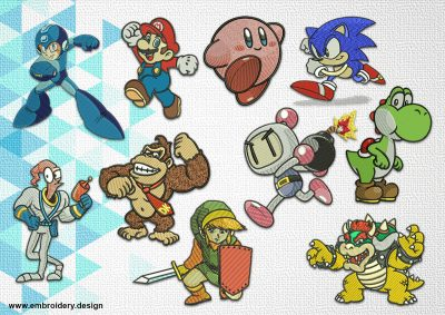 The pack of embroidery designs Old School Video Games characters provides 10 high-quality items