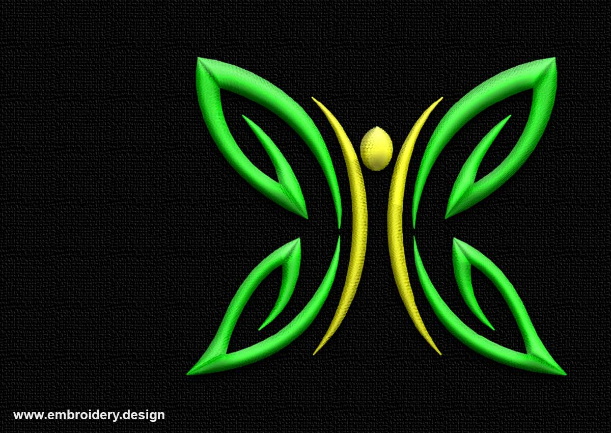 Outline green-yellow butterfly