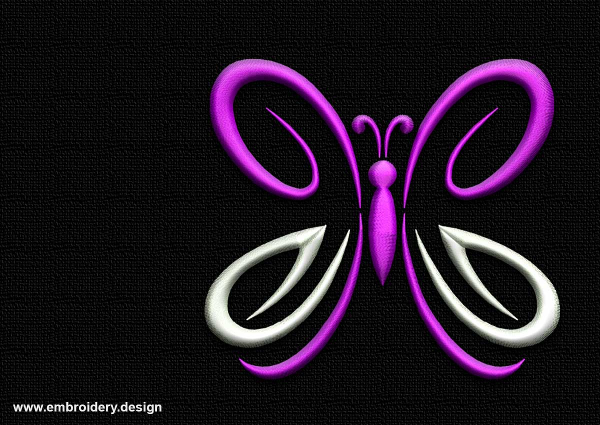 Outline Purple Butterfly Embroidery Design