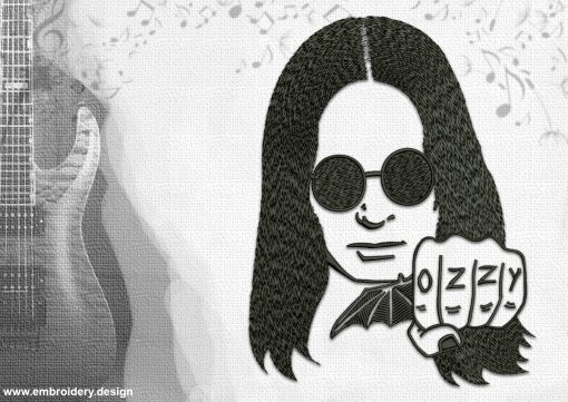 The embroidery design Ozzy Osbourne, who is a British rock musician