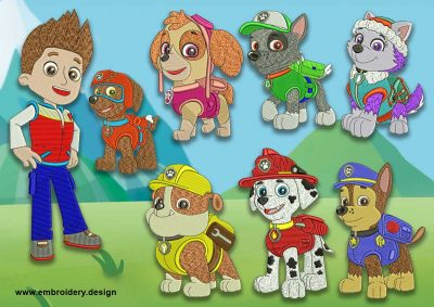The pack of embroidery design Paw patrol characters