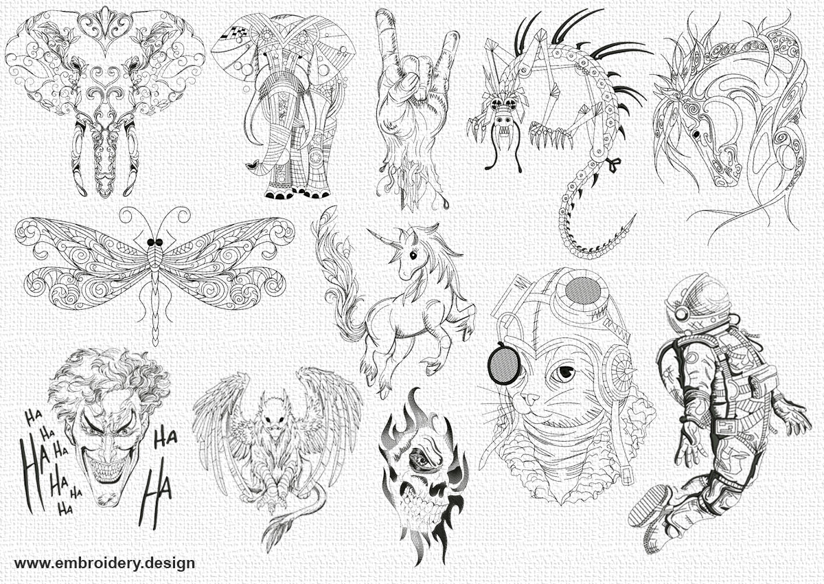 The pack of embroidery designs pencil drawings