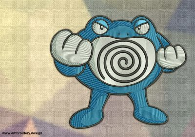 The embroidery design Poliwrath Pokemon was created in three sizes