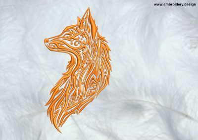 The high quality embroidery design Portrait of Fox