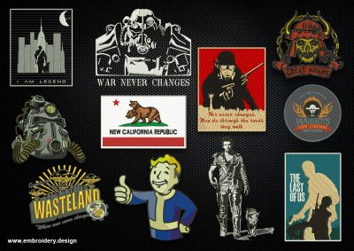 The pack of embroidery designs Post Apocalypse consists 11 designs