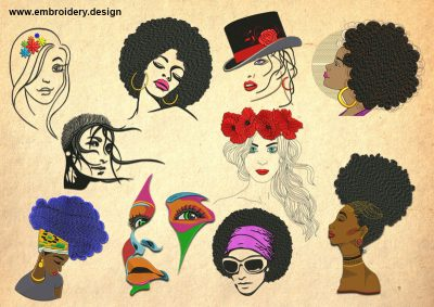 The pack of embroidery designs Pretty women
