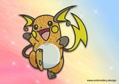 The embroidery design Raichu pokemon