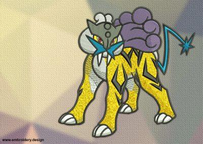 The embroidery design Raikou Pokemon is a four-legged, feline Pokemon.