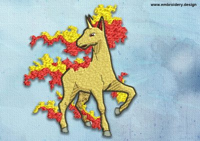 The embroidery design Rapidash Pokemon