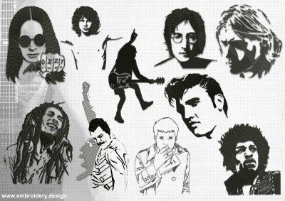 The pack of embroidery designs Rock Stars portraits, that are simple for embroidery