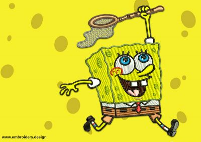 The embroidery design Running SpongeBob tries to catch jellyfish