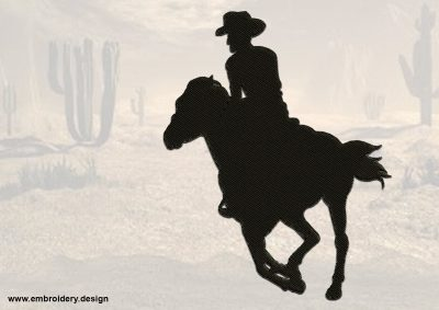 The embroidery design Rushing Cowboy consists of a single element with filling stitching.