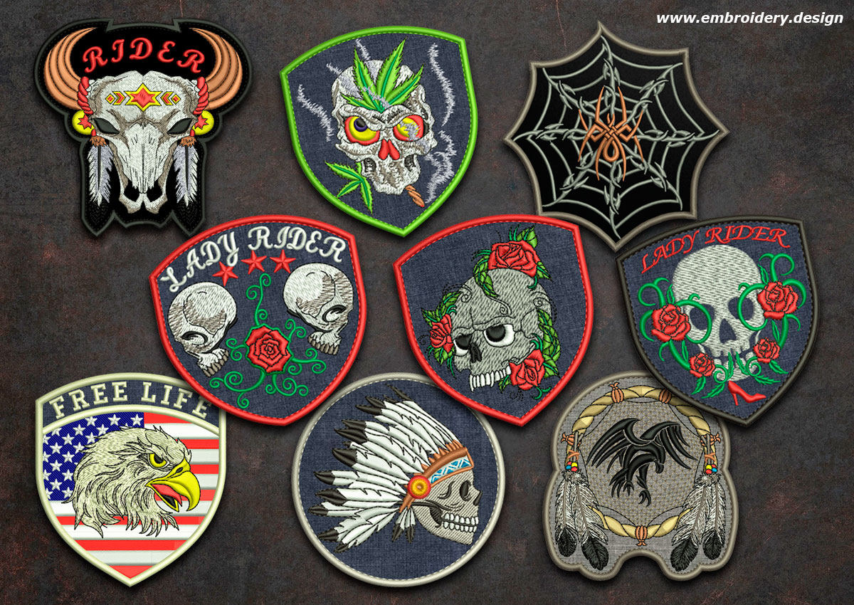 Biker patches embroidery designs pack collection of