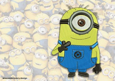 The embroidery design minion Shy Carl