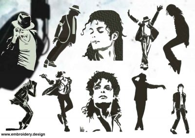 The pack of embroidery design Silhouettes of Michael Jackson