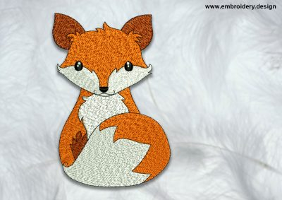 The high quality embroidery design Sitting fox