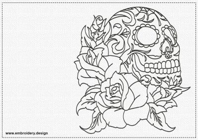 The embroidery design Skull and roses can be embroidered on various clothes.