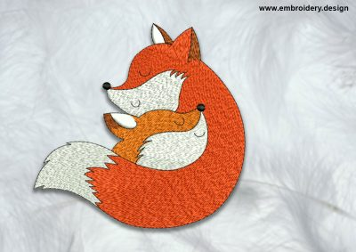 The high quality embroidery design Sleeping foxes