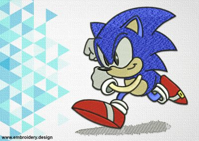 The embroidery design Sonic the Hedgehog provides in DST, EXP, PES, HUS, JEF, VIP, VP3, XXX