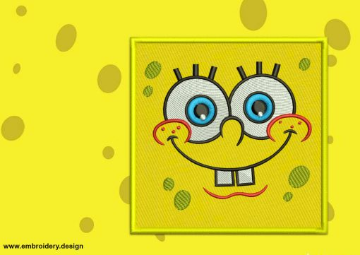 The embroidery design Square Applique SpongeBob provides in two sizes