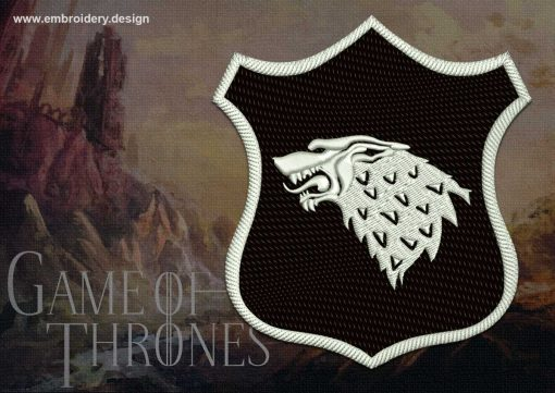 The professionaly digitized embroidery design Patch Applique Stark shield from Game of Thrones provides in 8 embroidery formats.