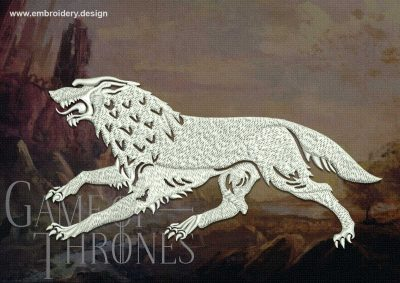 The embroidery design famous Stark wolf from Game of Thrones was created in 8 machines embroidery formats.