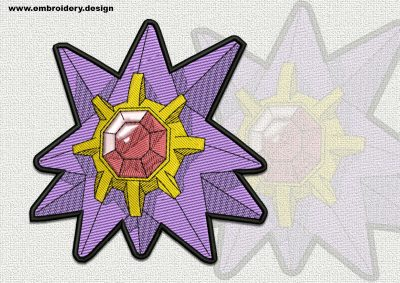 The qualitatively digitized embroidery design Staryu Pokemon