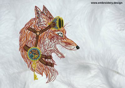 The high quality embroidery design Steampunk fox in profile