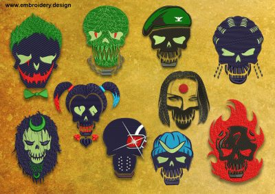 The pack of embroidery designs Suicide Squad from the Suicide Squad