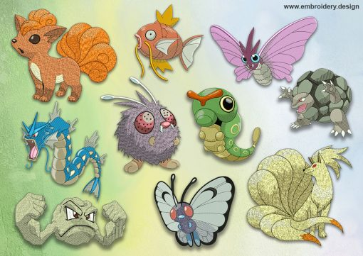 The pack of embroidery designs Sundry pokemons
