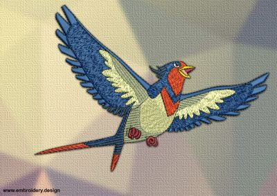 The embroidery design Swellow Pokemon was digitized in EmbroSoft studio