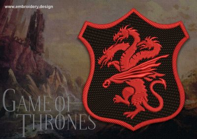The embroidery design Patch Applique Targaryen shield  from Game of Thrones was created in 2 sizes for implementation of various ideas.