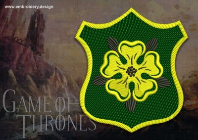 The embroidery design Patch Applique Tyrell shield  from Game of Thrones contains in 8 embroidery formats by EmbroSoft team.