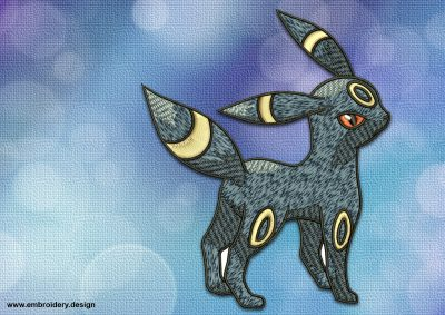 The embroidery design Umbreon Pokemon is provided in 8 embroidery formats
