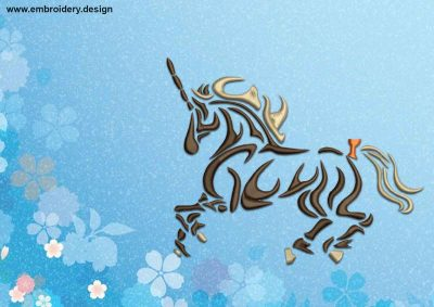 The embroidery design Unicorn with bowknot