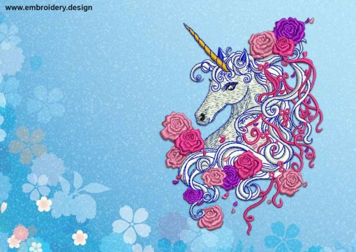 The embroidery design Unicorn with flowers