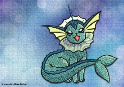 The embroidery design Vaporeon Pokemon will bring a lot of enjoy to all pokemons lovers