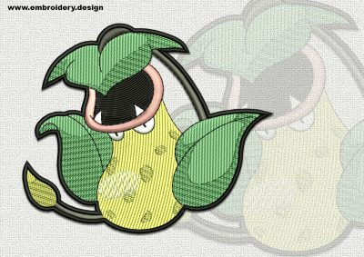 The qualitatively digitized embroidery design Victreebel Pokemon