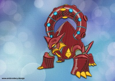 The embroidery design Volcanion Pokemon will become nice addition to the style