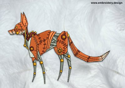 The high quality embroidery design Walking mechanical fox