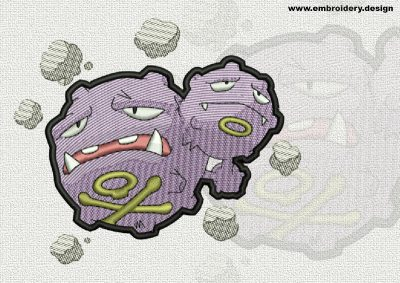 The qualitatively digitized embroidery design Weezing Pokemon