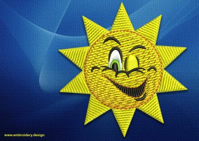 The embroidery design Winking sun