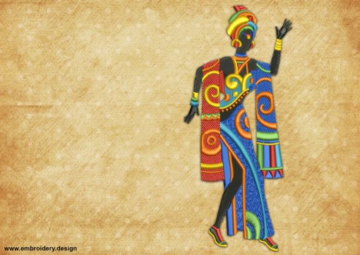 The embroidery design Woman in bright clothes, who dances with her people