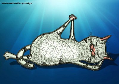 The embroidery design Yoga cat in Anantasana pose
