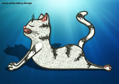 The embroidery design Yoga cat in Bhujangasana pose depicts