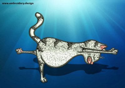 The embroidery design Yoga cat in Virabhadrasana pose depicts first step of warrior yoga pose.